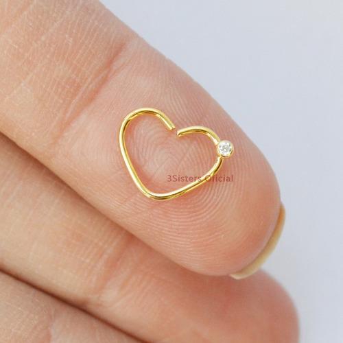piercing daith clips coração orelha folheado a ouro 18k