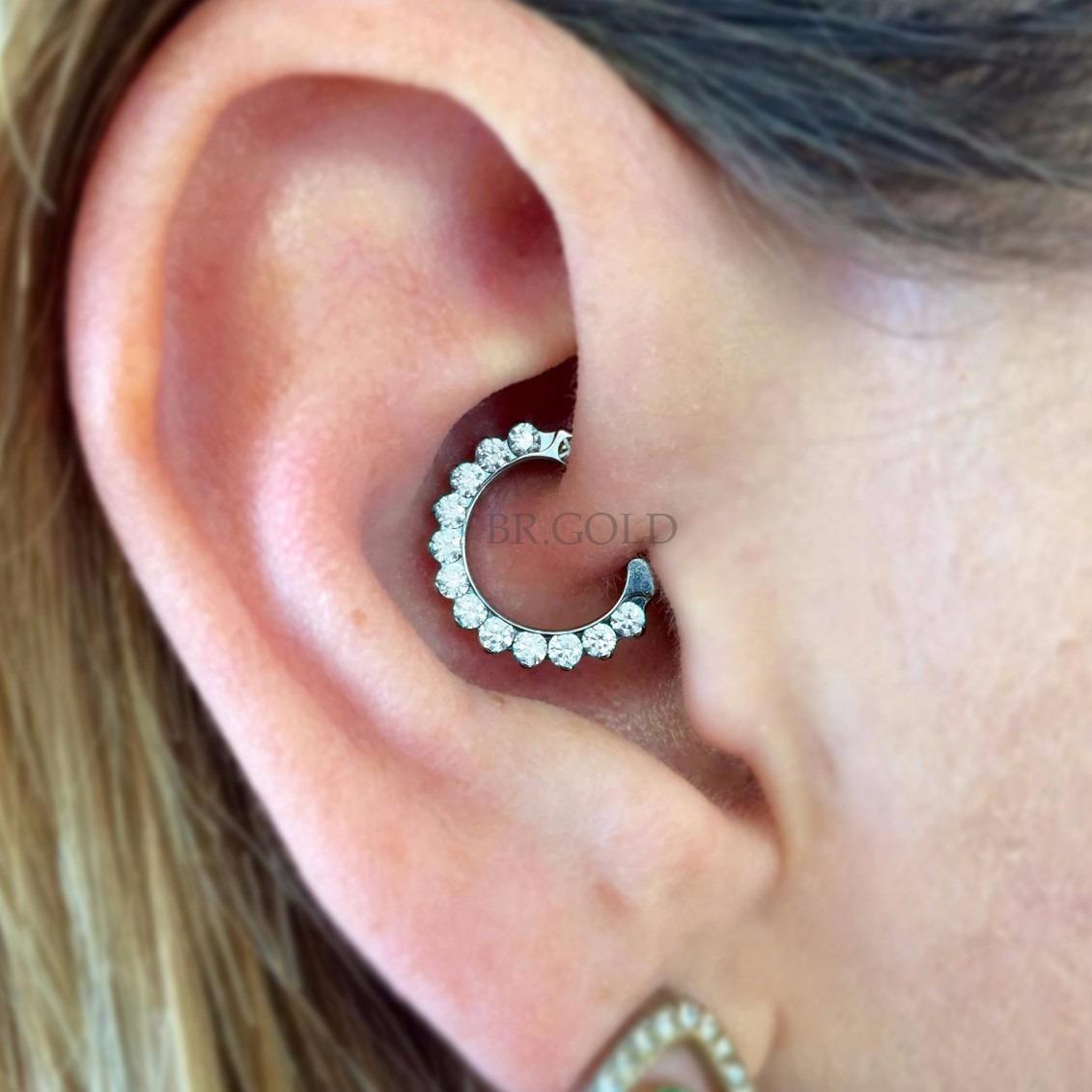 Piercing daith cristal de orelha em a o com banho de r dio - Porta piercing ...