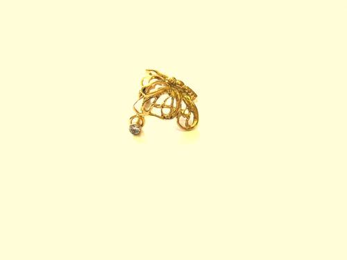 piercing de orelha cartilagem borboleta em ouro 18k earcuff