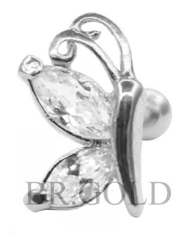 piercing de orelha, cartilagem, helix, borboleta de lado