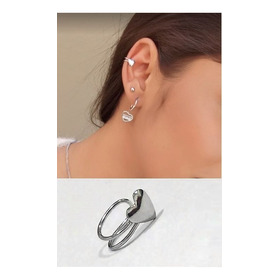 Piercing De Orelha Falso Fake Coração Aço Inoxdável Prata