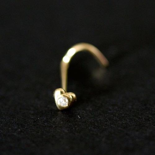 piercing de ouro 18k 0750 coração com 1 pedra de brilhante