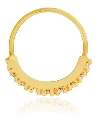 piercing de ouro 18k para cartilagem com zircônias