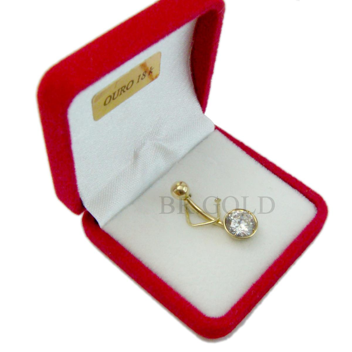 Piercing de umbigo barriga em ouro 18k pedra zirc nia r - Porta piercing ...