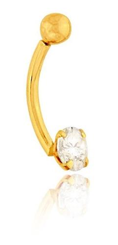 piercing de umbigo de ouro 18k ponto de luz