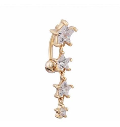 piercing de umbigo dourado ouro pendurado estrela invertido