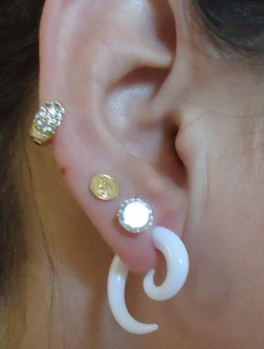 piercing falso alargador espiral branco !!