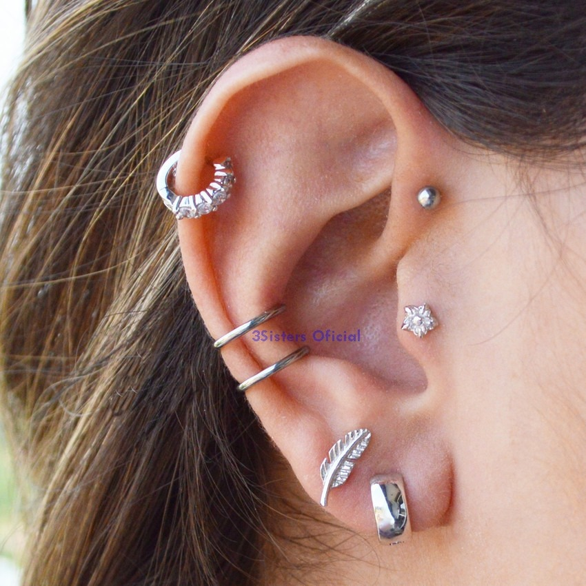 MLB 850983612 Piercing Falso Fake Argola Orelha Cartilagem Aco Cirurgico _JM on Double Cartilage Piercing