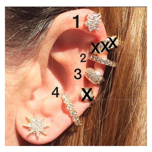 piercing falso fake earcuff orelha banhado a ouro prata