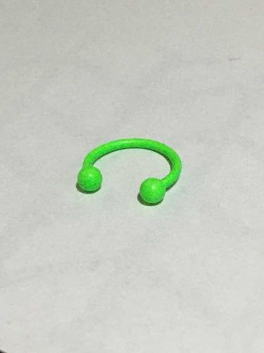 piercing ferradura de aço cirúrgico encapado tam m verde