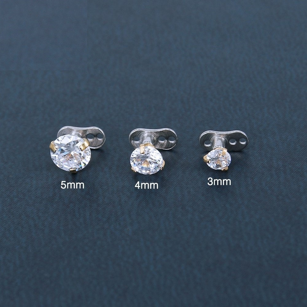 Piercing Microdermal Zirconia Pedra Cristal 3mm 4mm 5mm Aco