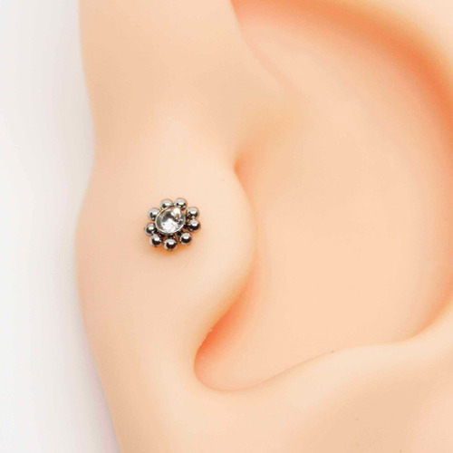 piercing mini tragus aço cirúrgico labret  petit fleur