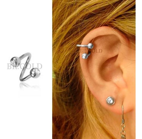 piercing orelha cartilagem twister folheado a ouro c/ strass