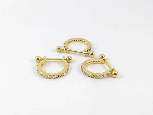 piercing orelha conch argola folheado a ouro