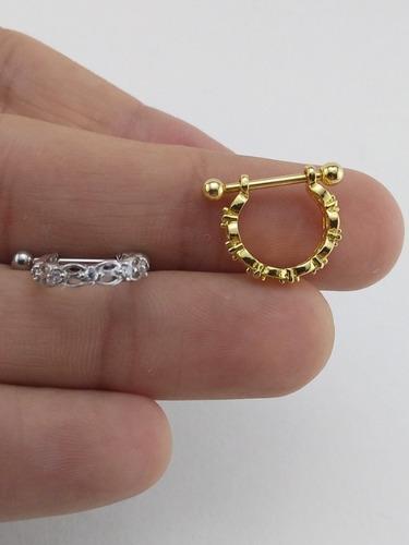 piercing orelha conch argola vazada folheado a ouro branco