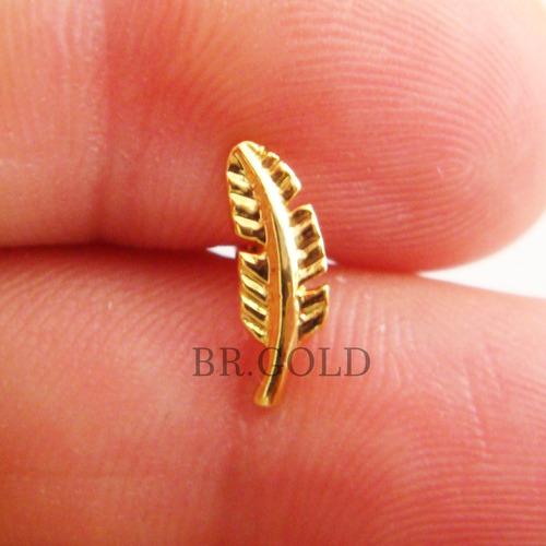 piercing para orelha, cartilagem, folheado a ouro 18k pena