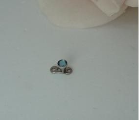 Piercing Subdermal Microdermal Pedra 3mm Azul Cla Aco 316l