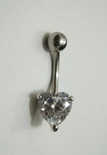 piercing umbigo coração com pedra de zirconia + 2 brindes