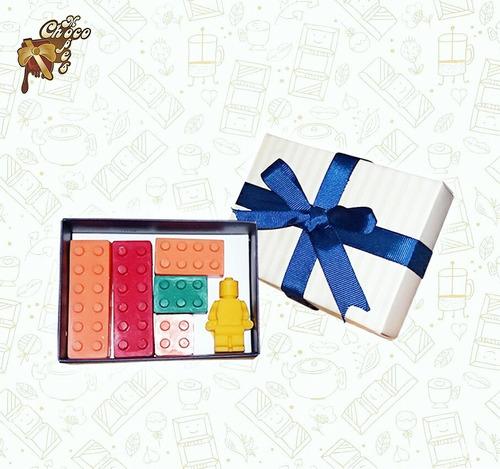 piezas de lego hechas de chocolate - listo para regalar