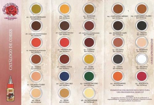 pigmento iron works maquiagem definitiva kit c/ 5 a escolher