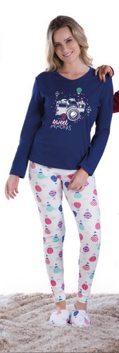 pijama adulto feminino inverno longo barato roupa dormir