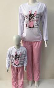 6e97afe74ef516 Pijama Cachorro Mãe E Filha - Feminino Inverno Longo Malha