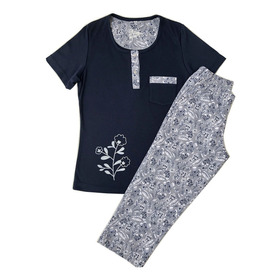 Pijama Camisa Manga Corta Y Capri En Algodón Doble Punto