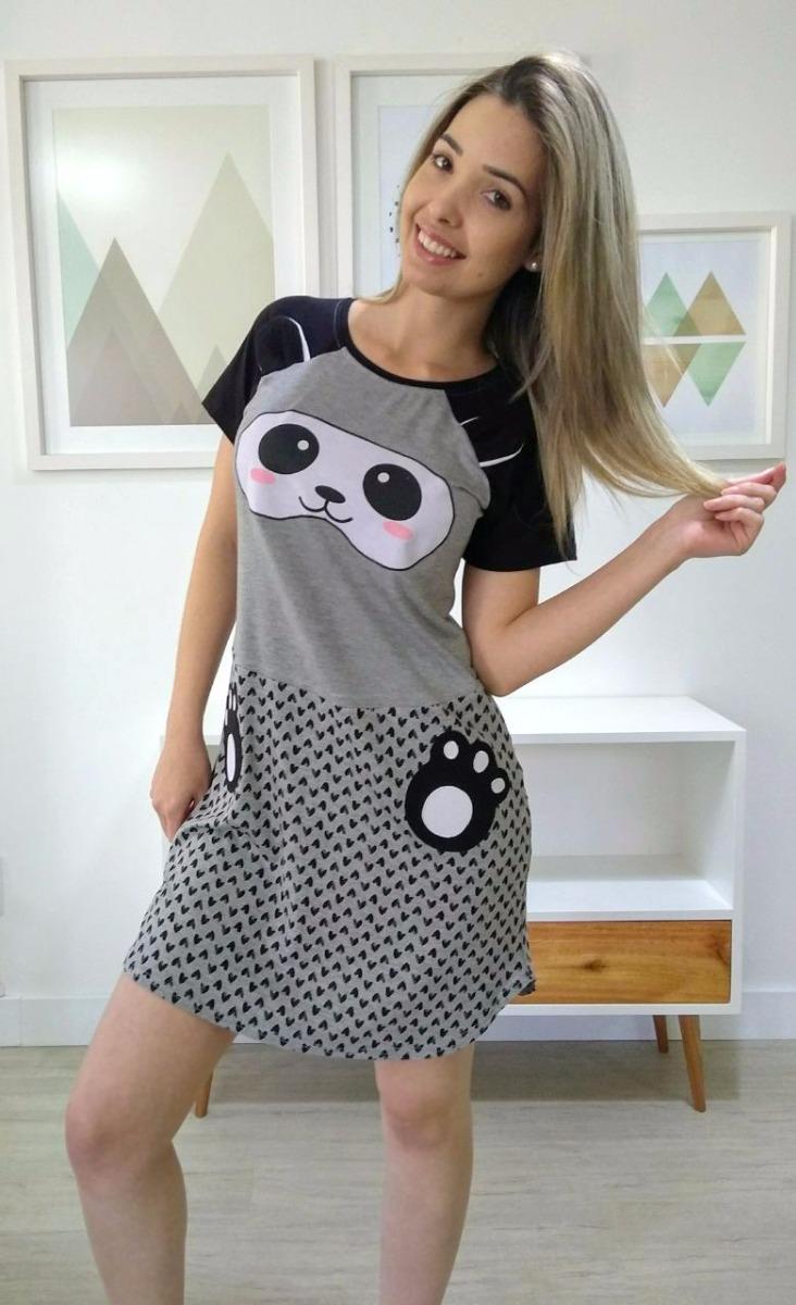 ef38e40bbf pijama camisola feminino curto panda - adoro pijamas. Carregando zoom.