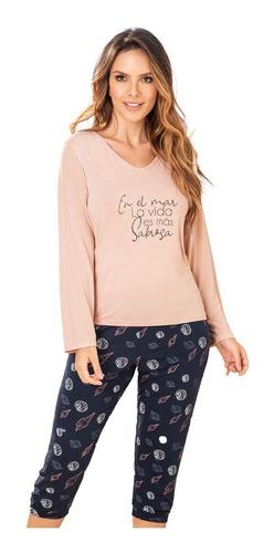 pijama cher france pantalon capri y blusa manga larga