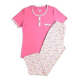 Pijama Dama Manga Corta Pantalón Largo Algodón Doble Punto