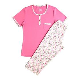 Pijama De Dama Manga Corta Capri En Polialgodón