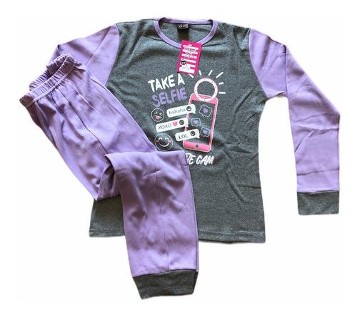 pijama de invierno para niñas interlock liso con estampa