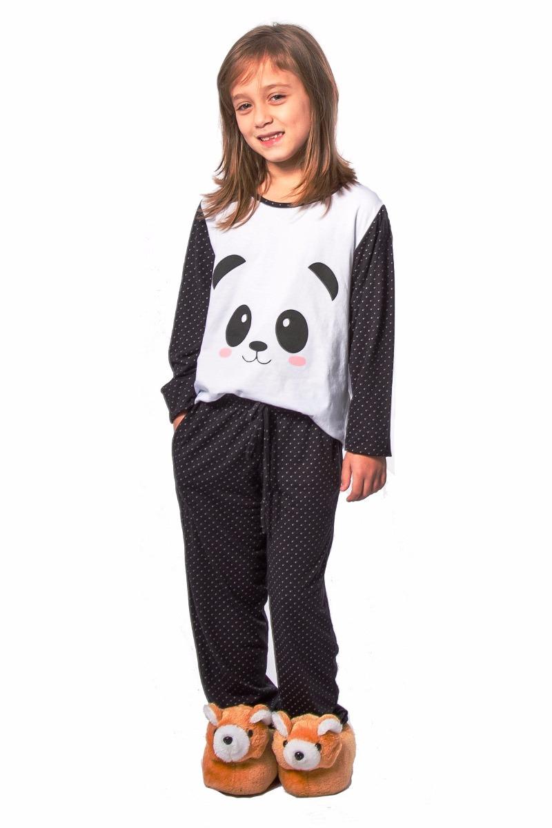 8089da1988 pijama de panda infantil feminino inverno frio pijama longo. Carregando  zoom.