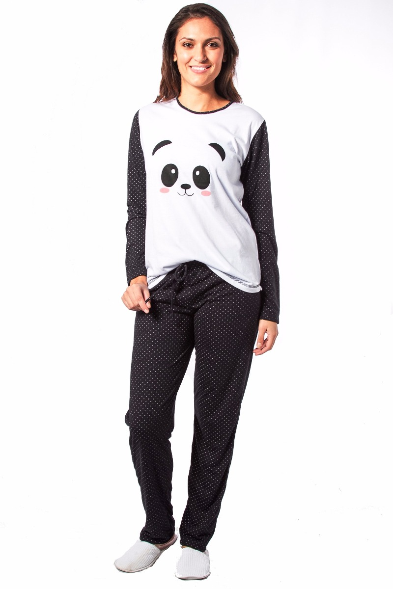 388d618473 Pijama De Panda Kit Com 2 Modelos Curto E Longo Frete Gratis - R ...
