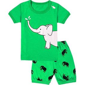 588f36eb40 Pijama De Short Elefante Para Niños Color Verde Marca Wwexu