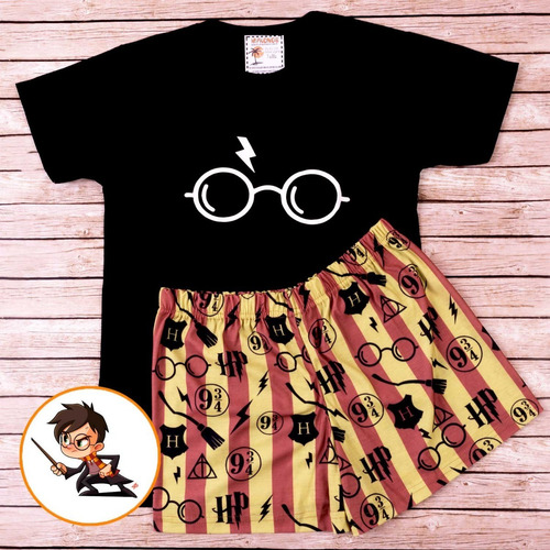 pijama de verano harry potter remera negra - store mykonos