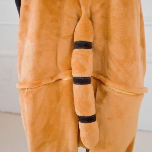 pijama disfraz kigurumi mapache o panda rojo kawaii