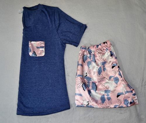 pijama dos piezas para mujer camisa algodón y short en satin