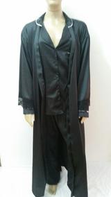 6fd8b7edc2c88b Pijama E Robe Femenino Seda Calça Comprida Blusa Manga Longo