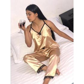 Pijama En Satin Blusa Y Pantalón Para Dama