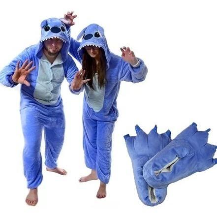 pijama entero stitch adulto niños + pantuflas kigurumi
