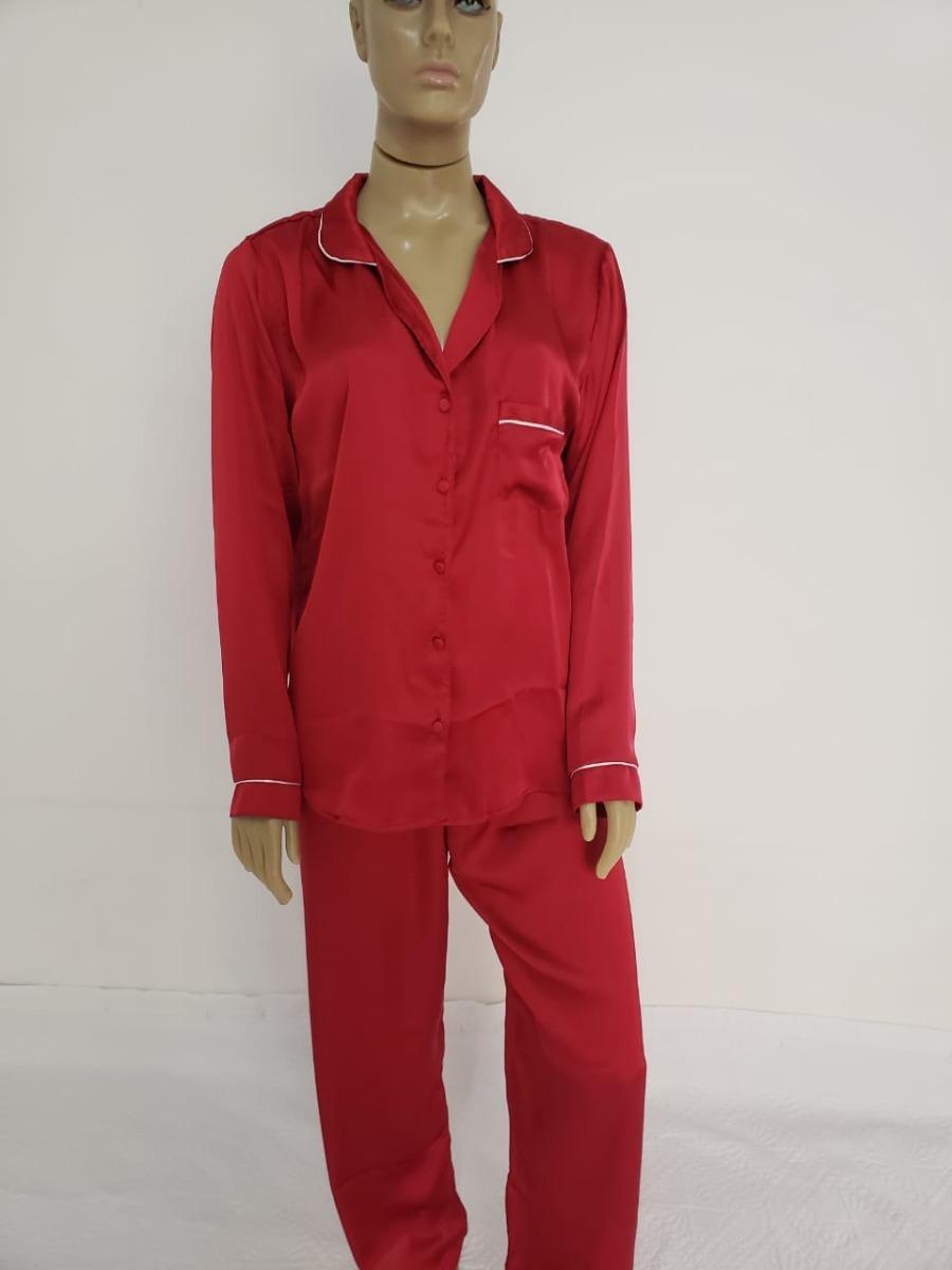 840a65044ba592 Pijama Femenino Seda Calça Comprida E Blusa De Manga Longa