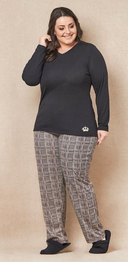 96799afb0 Pijama Feminino Plus Size Decote Em V E Calça Xadrez - R  120