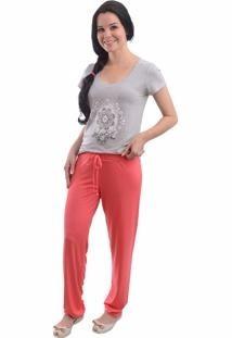 pijama feminino, calça comprida blusa manga/regata kit c/ 2