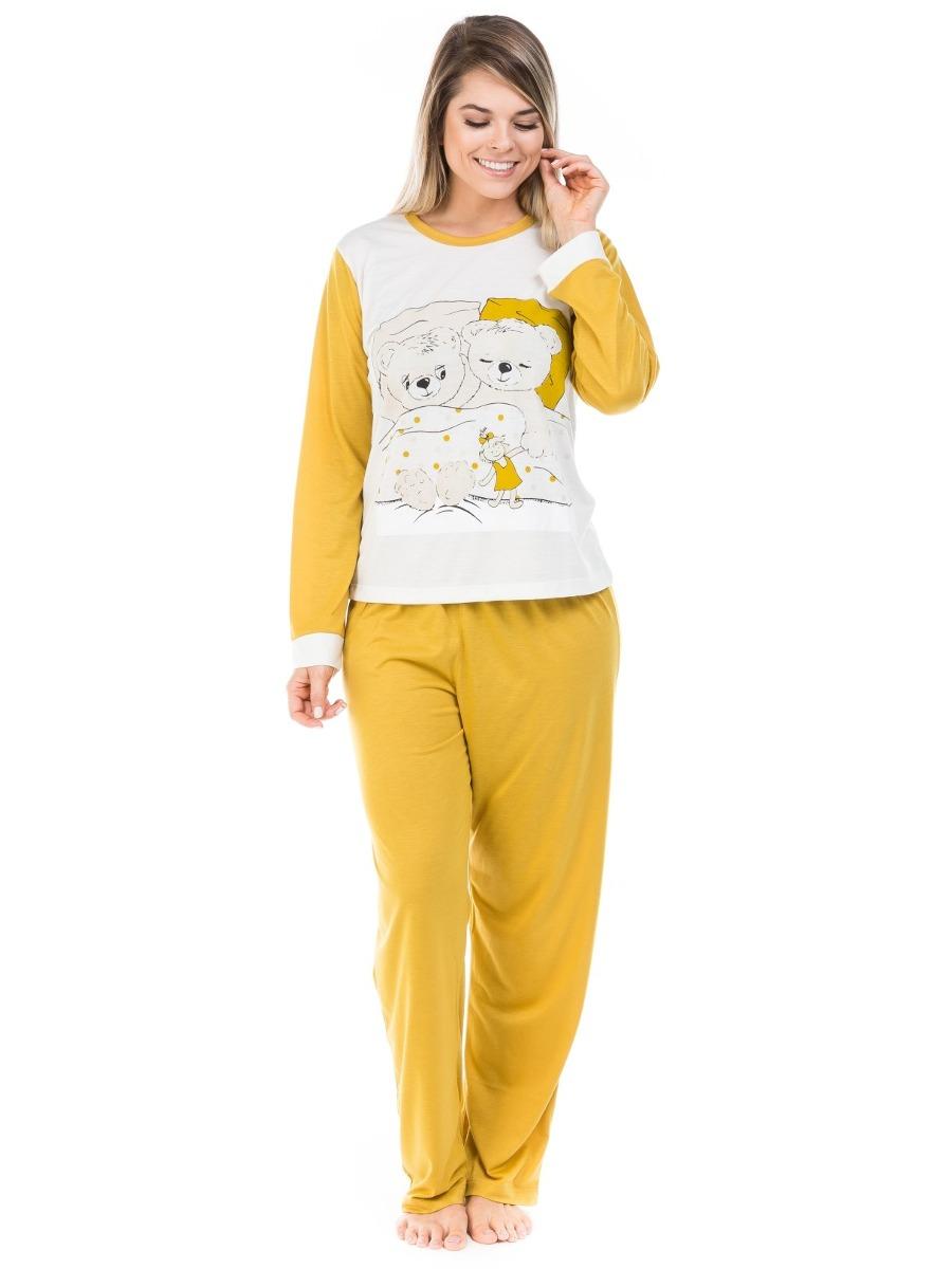 953c0a640 pijama feminino de malha sintética com estampa de urso. Carregando zoom.