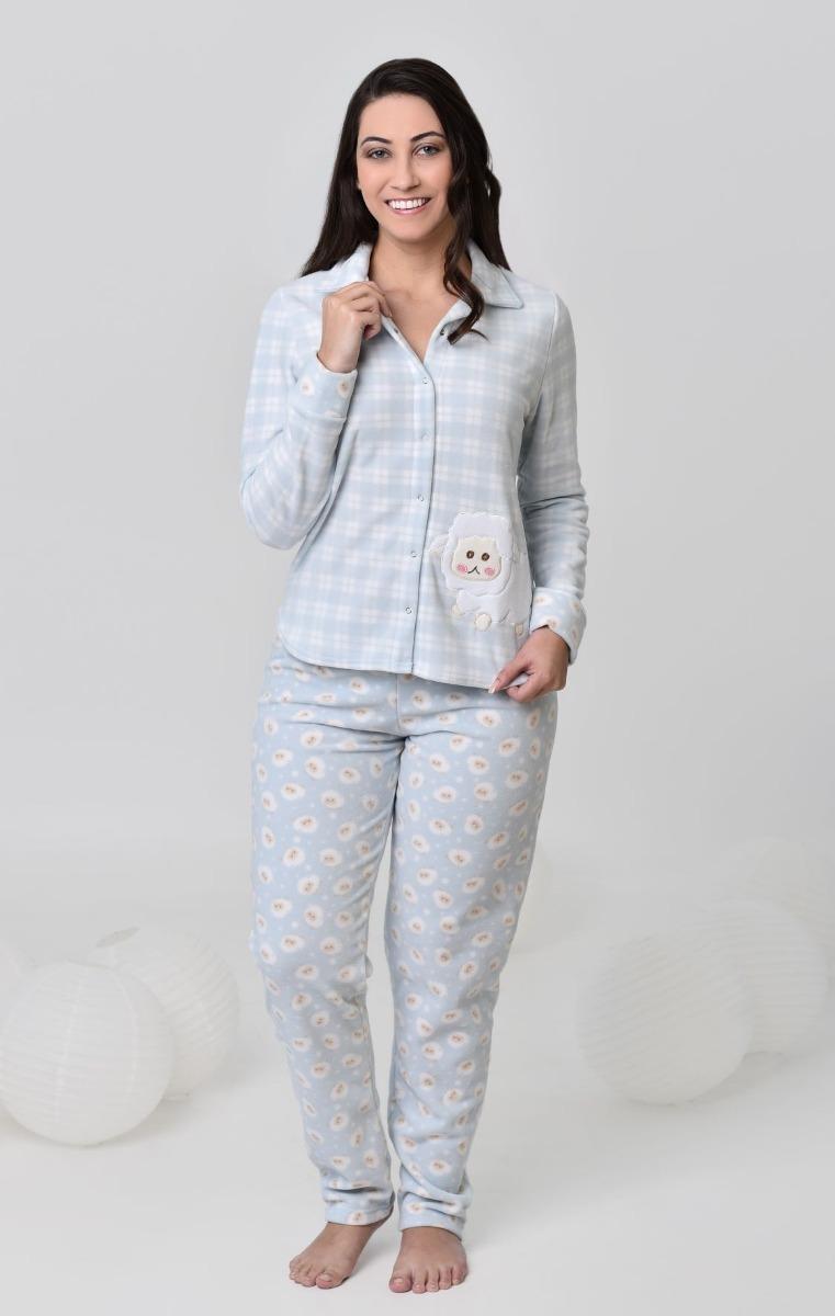 c6bacd4311e4d8 Pijama Feminino Inverno De Soft Abotoado Amamentação