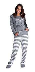 997bc468e4 Pijama Feminino Inverno Longo Frio Plush Adulto Victory.