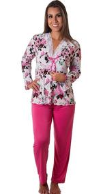 c21c6067a87441 Pijama Feminino Longo Liganete Com Renda Botão Promoção Off