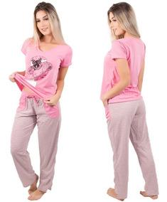 4d38de26da2d4a Pijama Feminino Manga Curta E Calça Longa Estampada Inverno