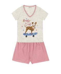 1d062e038e Pijama Feminino Manga Curta Estampa Cachorro Hering P- Xg